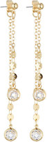 Fragments for Neiman Marcus Linear Front-Back Crystal Drop Earrings, Clear