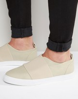 Asos Sneakers In Stone With Elastic Strap
