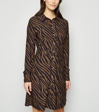 New Look Blue Vanilla Zebra Print Shirt Dress