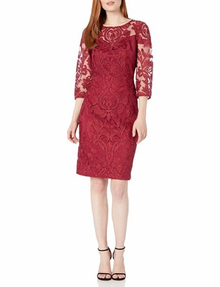 Alex Evenings Women's Short Embroidered Dress with Illusion Neckline (Petite and Regular Sizes)