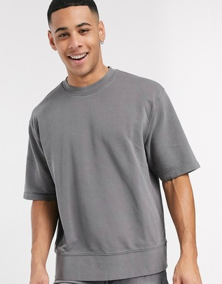 Topman short sleeve sweat in charcoal