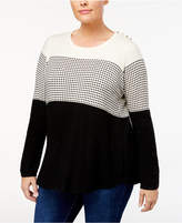 Charter Club Plus Size Colorblocked Sweater, Created for Macy's