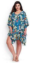 Lands' End Women's Plus Size Dolman Sleeve Cover-up-Aquamarine Sea Prairie Rose