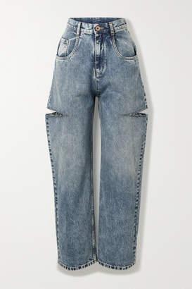 Maison Margiela Distressed High-rise Wide-leg Jeans - Blue