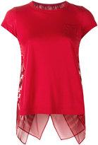 Sacai open back scarf print T-shirt - women - Linen/Flax/Polyester - 1