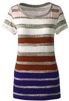 Classic Women's Plus Size Art T Shirt-Khaki Pebble Stripe