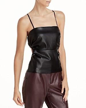 Lucy Paris Cutout Faux Leather Camisole