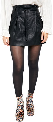 Free People Payton Paperbag Waist Faux Leather Miniskirt