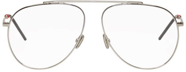 Christian Dior Silver Single Bridge Aviator Glasses