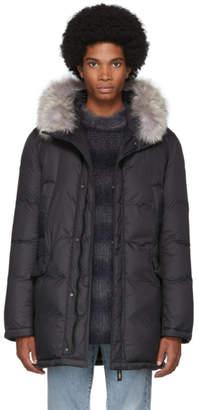 Yves Salomon Army Black Down Nylon Coyote Coat