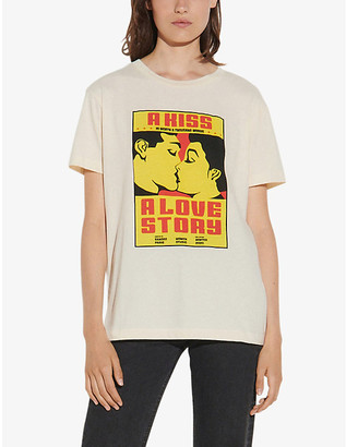 Sandro Love story-slogan print cotton T-shirt