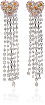 Fallon Heart Waterfall Rhodium-Plated Crystal Earrings