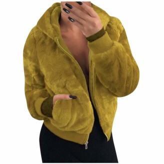 Kalorywee Coats KaloryWee Fuax Fur Jacket Ladies Women's Fleece Coats Casual Outerwear Tops Open Front Cardigan Jacket Sweater with Pockets Yellow