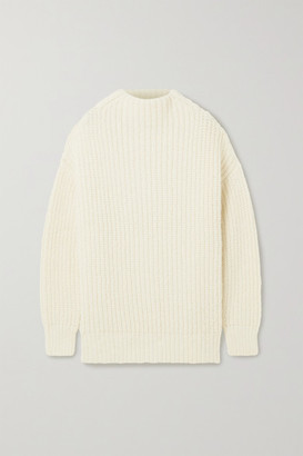 LAUREN MANOOGIAN Fisherwoman Ribbed Alpaca And Organic Cotton-blend Sweater - Cream