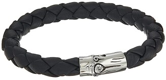 John Hardy Bamboo 8mm Station Bracelet in Black Leather