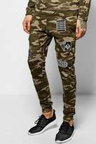 Boohoo Skinny Fit Camo Joggers With Badges