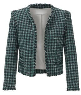 HUGO BOSS Regular Fit Jacket In Checked Tweed With Fringed Edges - Patterned