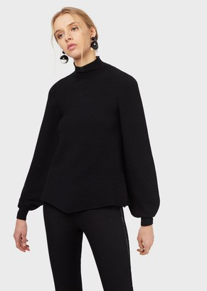 Emporio Armani Roll-Neck, Ottoman-Effect Sweater With Puffed Sleeves