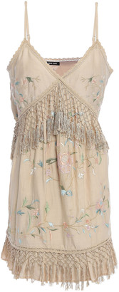Love Sam Embroidered Cotton And Silk-blend Mini Dress