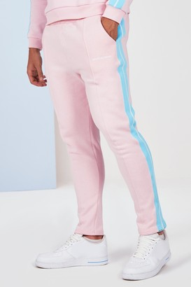 boohoo Mens Pink Big And Tall Side Tape Jogger, Pink