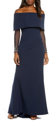 Vince Camuto Off the Shoulder Long Sleeve Gown