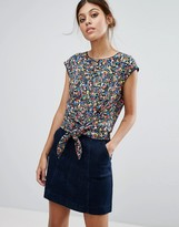 Oasis Ditsy Print Tie Front Top