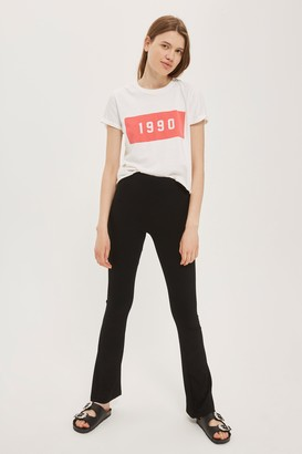 Topshop Womens Skinny Ribbed Flare Trousers - Black