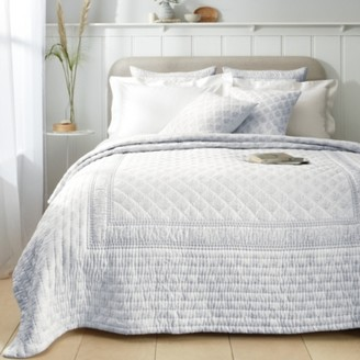 The White Company Provence Bedspread, White Blue, Single