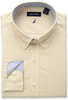 Nautica Men's Classic Performance Gingham Button Down Collar Dress Shirt, Tan