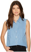 7 For All Mankind Sleeveless Ruffled Denim Shirt in Skyway Authentic Blue Women's T Shirt