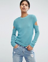 Asos Sweater In Ripple Stitch With Slash Sleeves