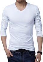 uxcell® Men V Neck Pullover Long Sleeve Spring Fall T-Shirt XL