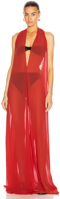 Adriana Degreas Solid Halterneck Long Dress in Red | FWRD