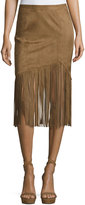Tularosa Donna Faux-Suede Fringe Skirt, Camel