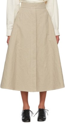 Lemaire Beige Linen Trench Skirt