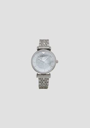 Emporio Armani WomenS Quartz Watch In Stainless Steel And Rhinestones