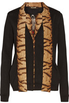 Roberto Cavalli Paneled Printed Silk Crepe De Chine And Wool-Blend Cardigan
