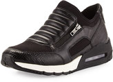 Ash Madmax Leather Side-Zip Sneaker, Black
