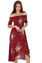 AX Paris Rust Floral Bardot Printed Dress