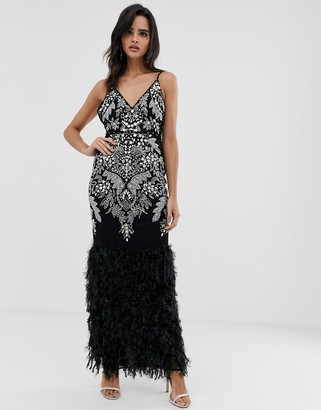 Asos Design DESIGN embellished faux feather hem maxi dress-Black
