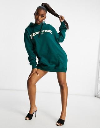 Public Desire motif oversized hoodie sweat dress in green