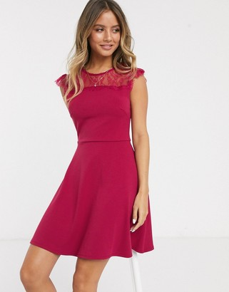 Lipsy shirred wrap skater dress in pink-Black