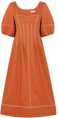 Jonathan Simkhai Lena orange stretch-cotton midi dress