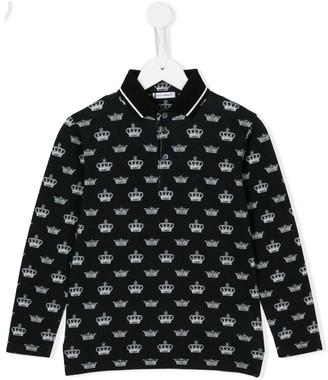 Dolce & Gabbana Kids Crown Print Polo Shirt