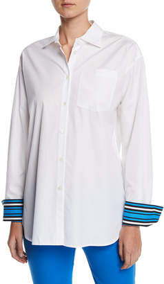 Escada Striped-Cuffs Long-Sleeve Button-Down Cotton Blouse