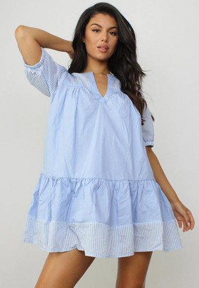 Missguided Blue Stripe V Neck Ruffle Smock Dress