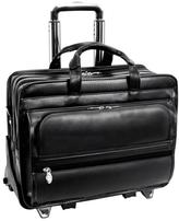 "McKleinUSA Franklin 17"" Leather Laptop Case with 2-in-1 Detachable Wheel and Handle System"