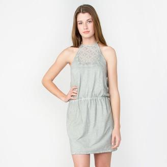 Element Women's This Love Halter Dress with Crochet Detail Grey Medium