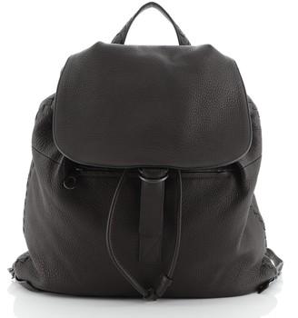 Bottega Veneta Drawstring Flap Backpack Leather Large