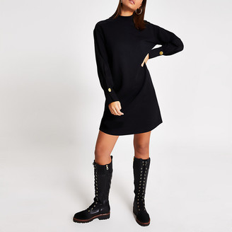 River Island Black long sleeve high neck sweatshirt dress